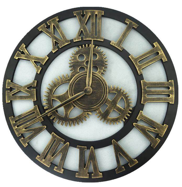 Handmade Clock Large Gear Wall Clock Vintage Rustic Wooden luxury art vintage [80cm]