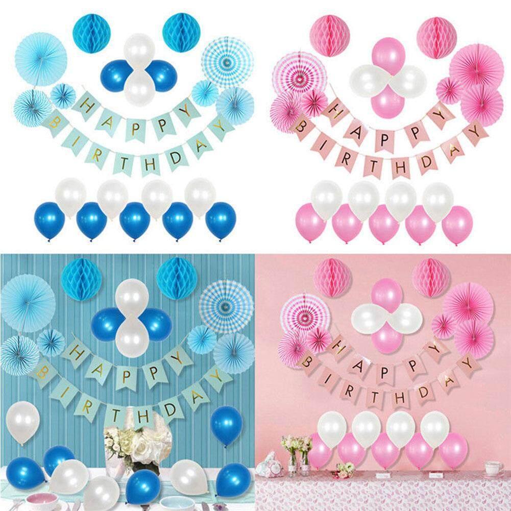 Anak-anak Jaringan Kipas Kertas Bunga Pom Pom Set dengan Spanduk Balon untuk Ulang Tahun Dekorasi Latar Belakang