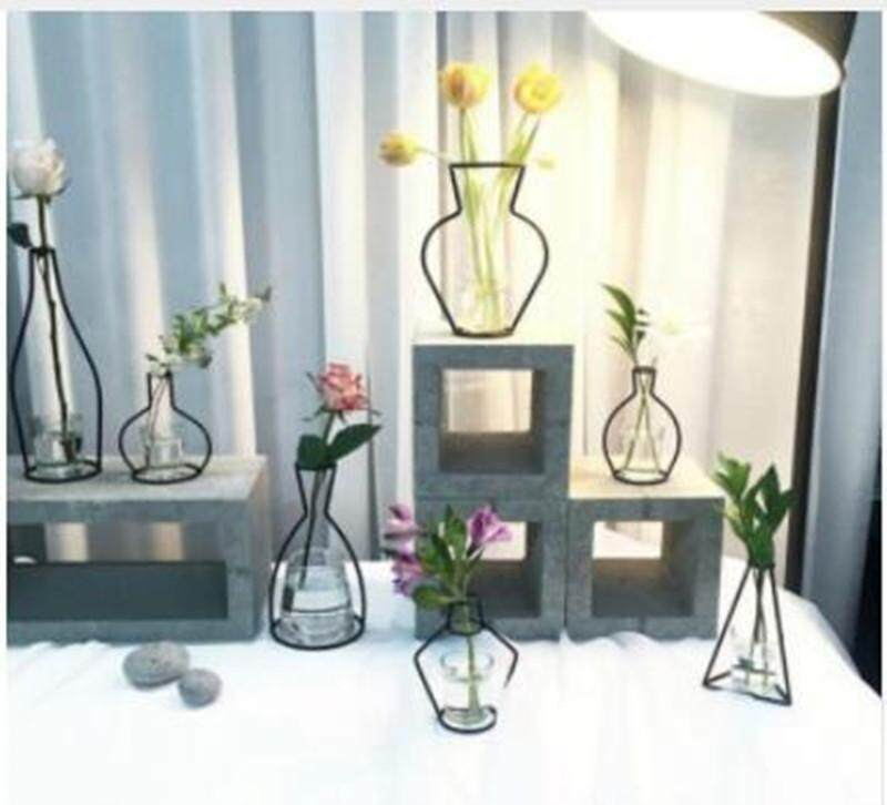 6pcs Home Party Decoration Vase Abstract Black Lines Minimalist Abstract Iron Vase Dried Flower Vase Racks Nordic Flower Ornaments