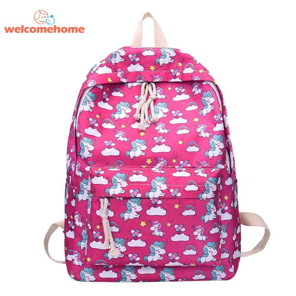 Women Cartoon Printed Casual Backpack School Bags For Teenage Girls Canvas Travel Shoulder Rucksack By Welcomehome.