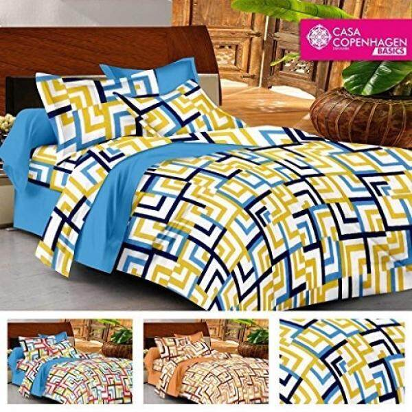 Casa Basics Ezy Collection Blue Corners Cotton Queen Bedsheet With 2  Pillowcases (Specially Used For