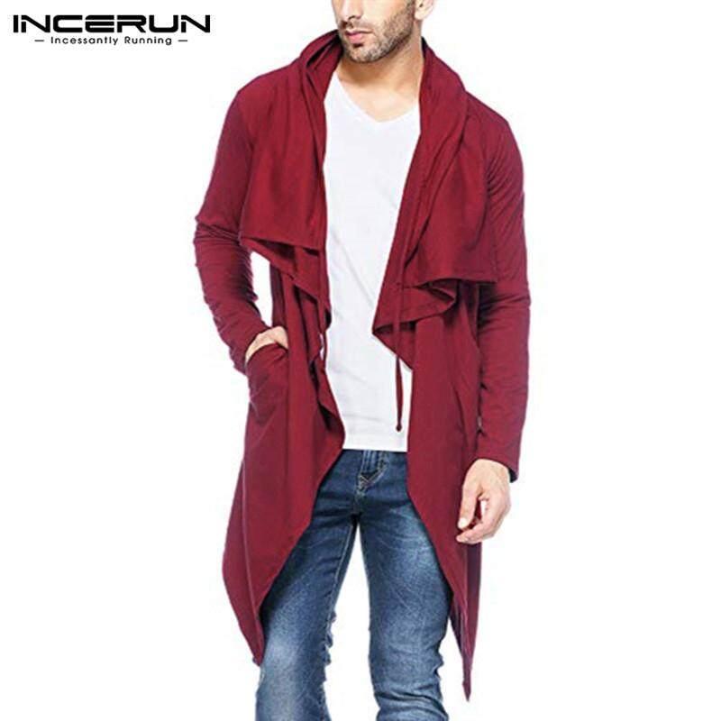 93c6107bd5f8 INCERUN Mens Hooded Cardigan Long Sleeve Coat Solid Jacket Sweater  Irregular Cloak Tops