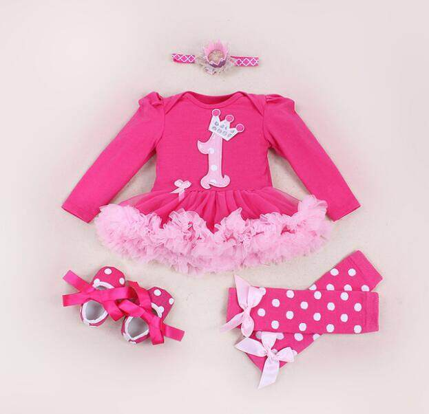 b25aef1272c5 4pcs newborn Baby Clothes Autumn/spring Cotton tutu party dresses pink baby  girl lace romper