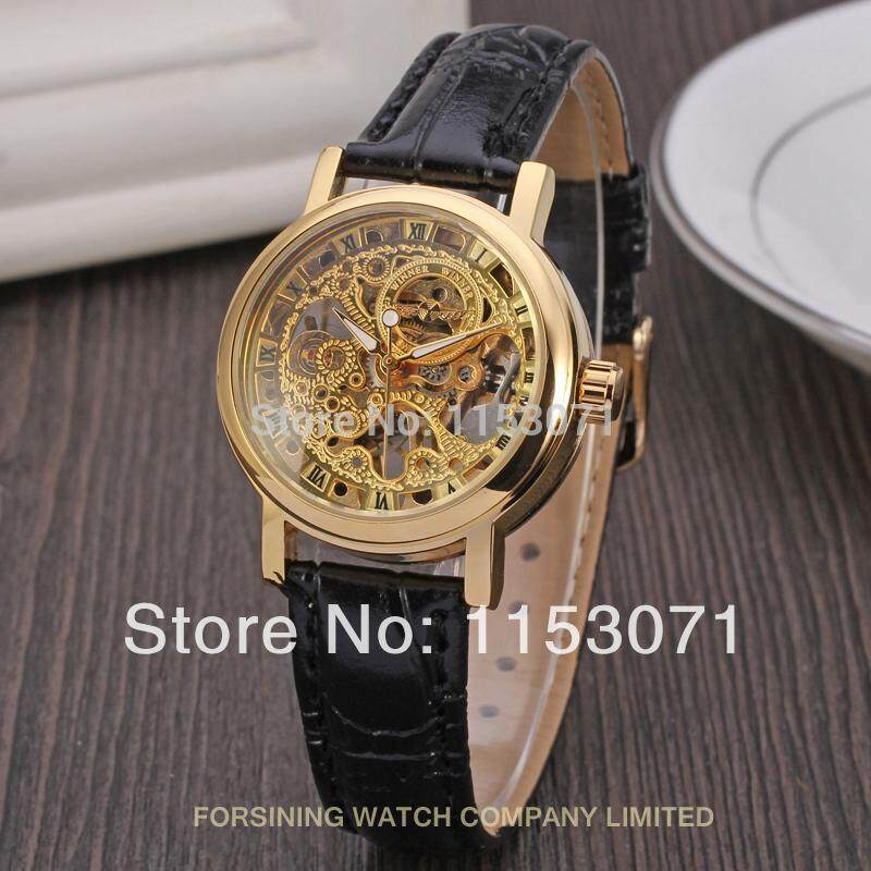 Winner WRL8005M3 Women's Watch Charming Mechanical Hand Wind Stylish Skeleton Leather Strap Fashion Wristwatch Color GoldG1
