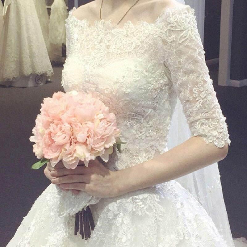 Váy Cưới Lễ Phục 2019 Mẫu Mới Cô Dâu Qi Váy Cưới Cung Đình Váy Cưới Giản Lược Kiểu Hàn Váy Cưới Trễ Vai Xa Hoa