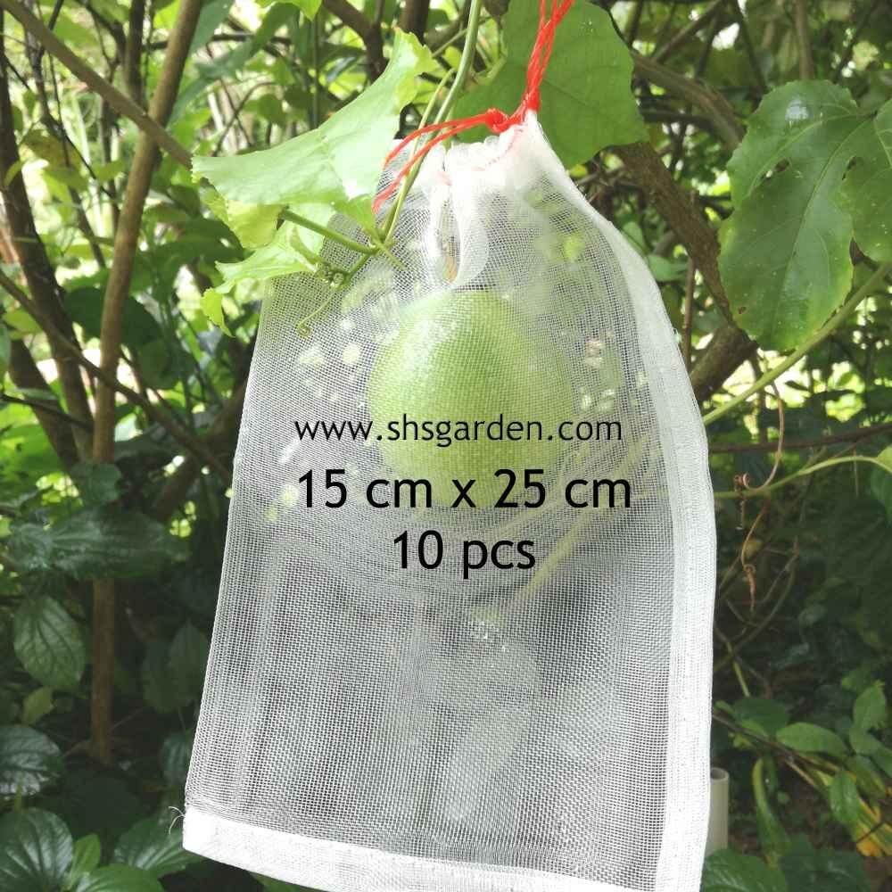 10 pcs Garden Net (15cm x 25cm) Nylon Fruit Mesh Bag Protect Fruits from Pests Insects Caterpillars Beetles Birds Squirrel Monkey Pest Control Mesh Bag (SHS Kebun)