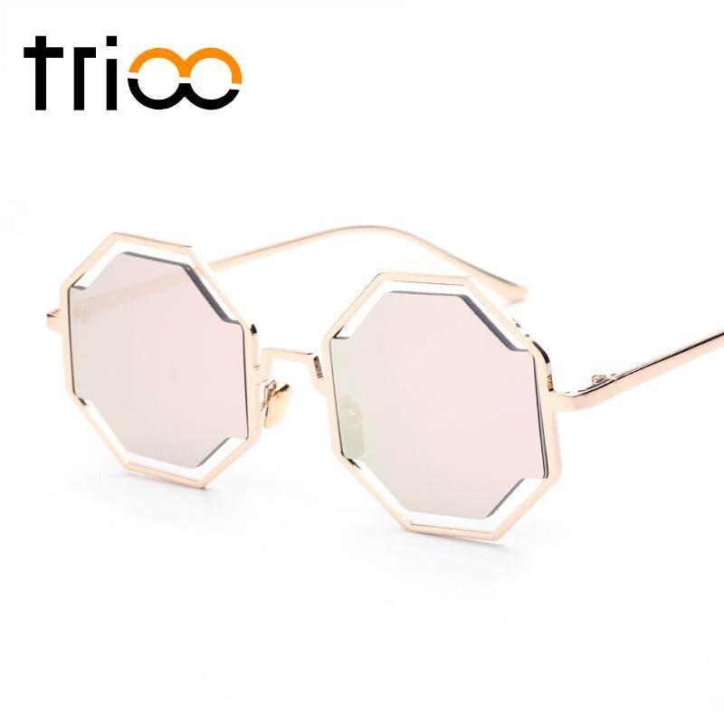 TRIO Fashion Street Show Polygon Sunglasses Metal Gold Frame Puzzle Desain lunette Super Cool Flat Bulat Pixel Glasses Hot Pink