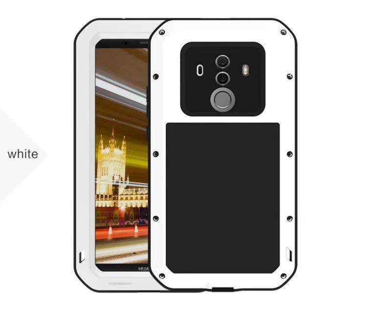 Shockproof Dustproof Water Resistant Aluminum Alloy Metal Tempered Glass Cover Case for Huawei Mate 10 Pro
