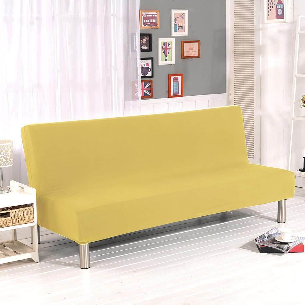 Warna Solid All-Inclusive Lipat Sofa Santai Tempat Tidur Sarung Sofa Pelindung Sarung Tanpa Sandaran Tangan