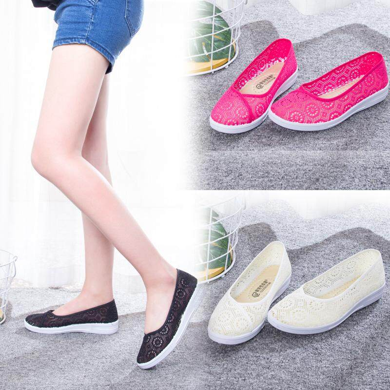 Detail Gambar Sepatu perawat musim panas perempuan 2018 model baru putih  sol datar berongga kecantikan rumah sakit pekerjaan bernapas Schick sepatu  putih ... f991bc365a