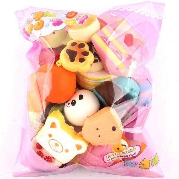 New 10pcs Medium Mini Soft Squishy Bread Stress Toys Key ,random Colors - Intl By Pandaoo Store.