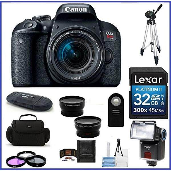 Canon EOS Rebel T7i DSLR Kamera dengan 18-55 Mm STM Adalah Lensa (Amerika Serikat Garansi) Pro Bundle; 32 GB SDHC CLASS 10 Kartu Memori + 58 Mm Telephoto & Lensa Sudut Lebar + Auto Power Flash + Lebih Banyak...