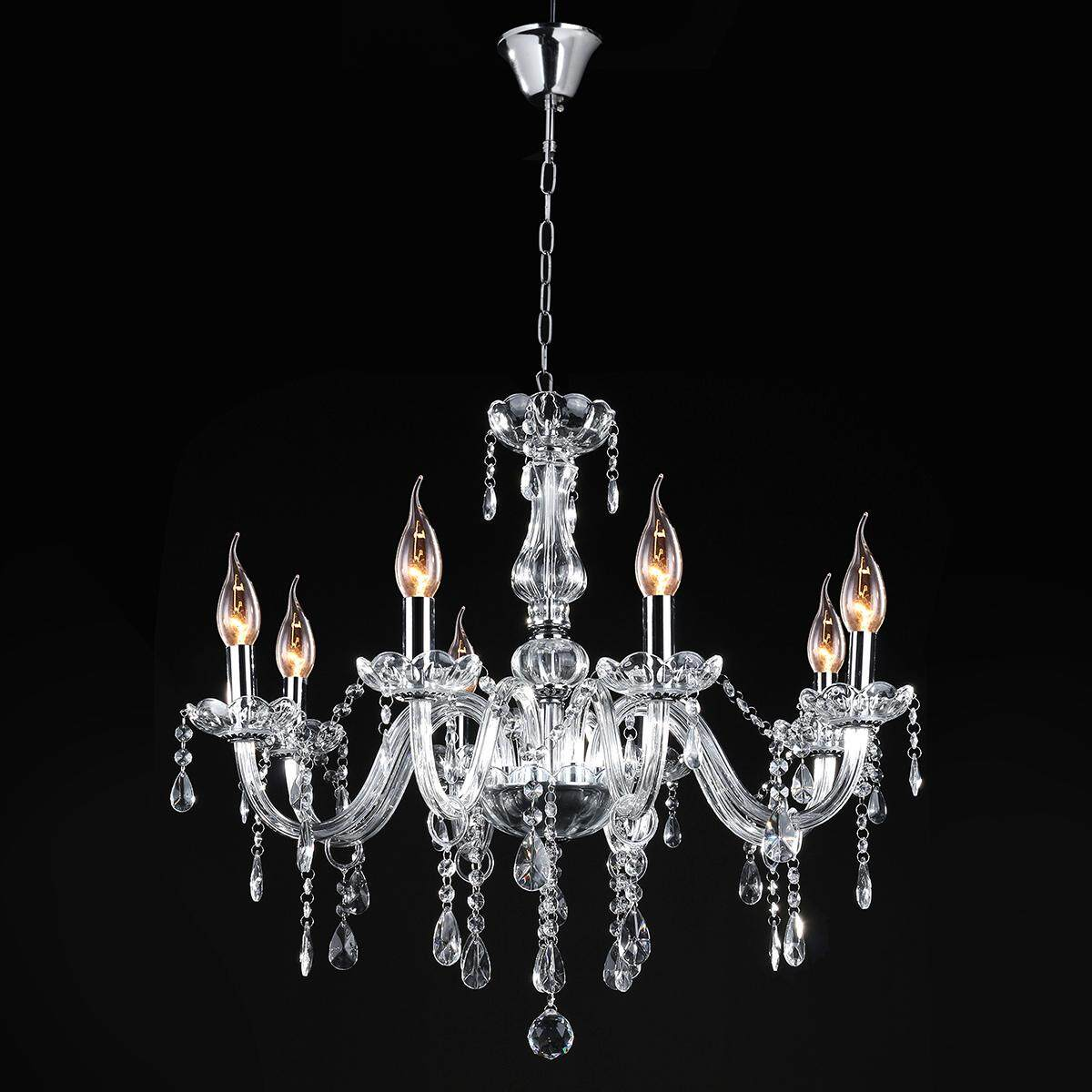 E12 8 Heads Clear Crystal Chandelier European Style Pendant Ceiling Light Modern Chandeliers Crystal Light Fixture Dining Room Bedroom Hanging Lamp, AC110-240V For Hall Restaurant Corridor Balcony Entrance Decoration