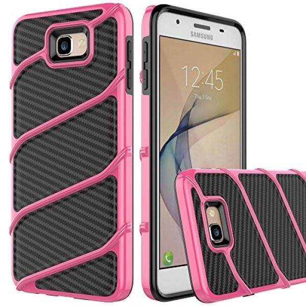 Cell Phones Cases Galaxy J5 Prime Case, Baisrke [Bolt Series] [Carbon Fiber] Anti-Slip Grip Hybrid Rubberized Full Body Protector Cover Premium Flexible Soft TPU Case for Samsung Galaxy On5 2016/J5 Prime[Rose] - intl