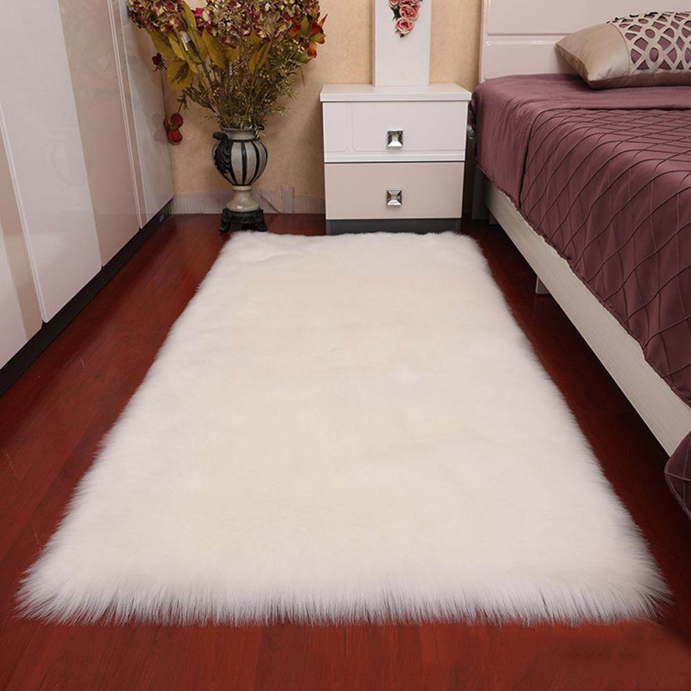 niceEshop Luxury Soft Faux Sheepskin Fur Area Rugs For Bedside Floor Mat Plush Sofa Cover Seat Pad For Bedroom