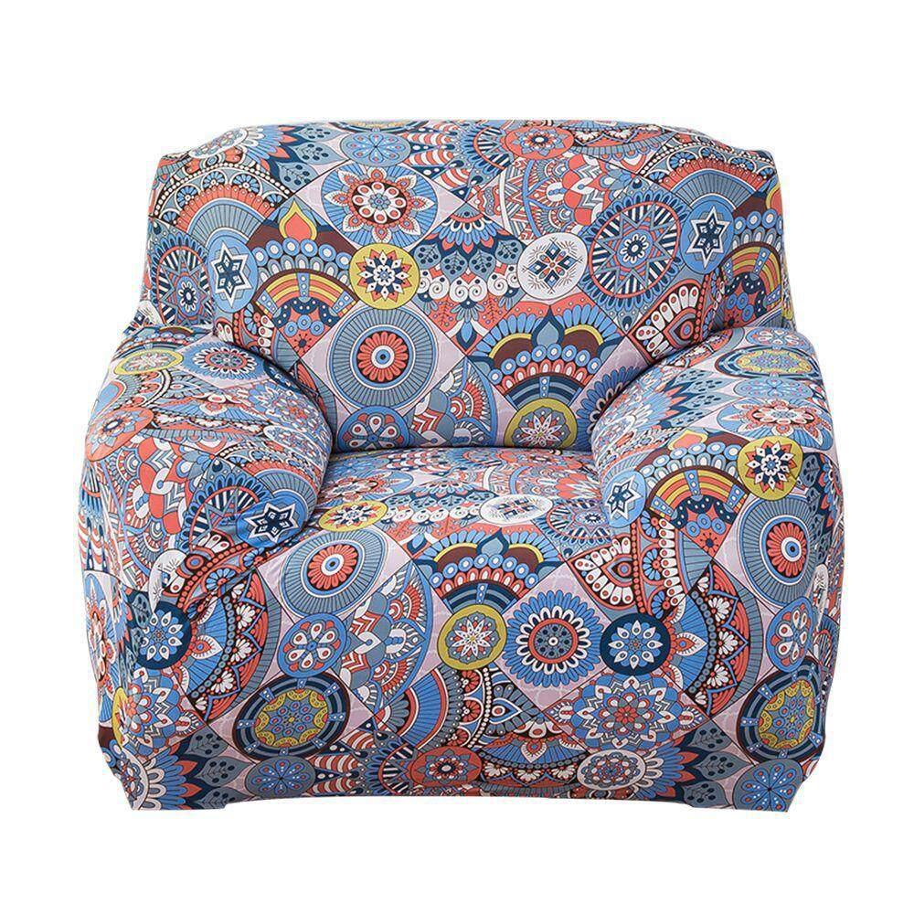 Kobwa Leaves Printed Stretch Sofa Slipcovers 1 Seater Cushion cover Sofa,Fit for 90-140cm Sofa