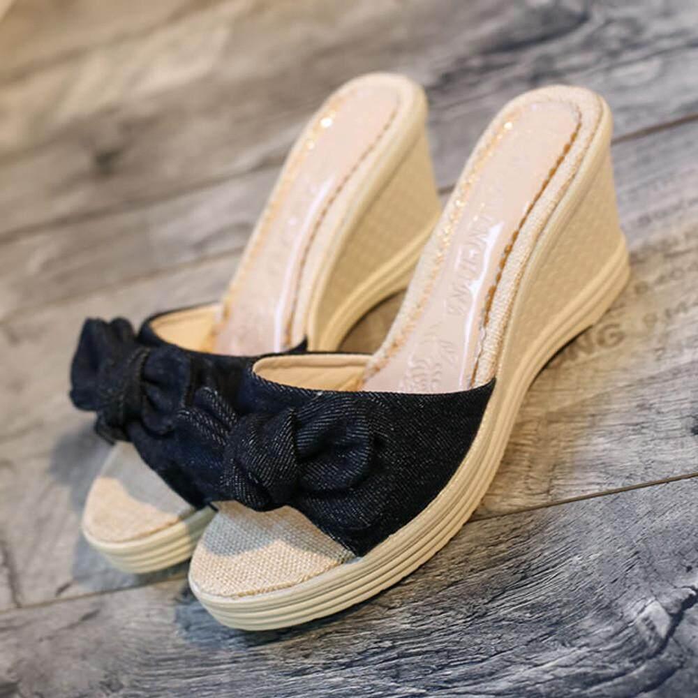 155bdba6888c47 Carolaneshop Ladies Summer Bow Platform Waterproof Sandals Wedge Women  Slippers