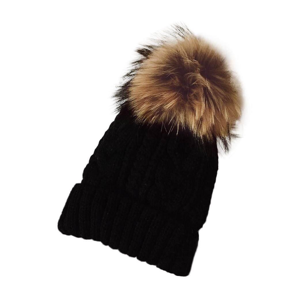 Detail Gambar Wanita Kualitas Tinggi Topi Rajut Musim Dingin Bulu Ganja Kupluk Rajutan Wol Raccoon Topi