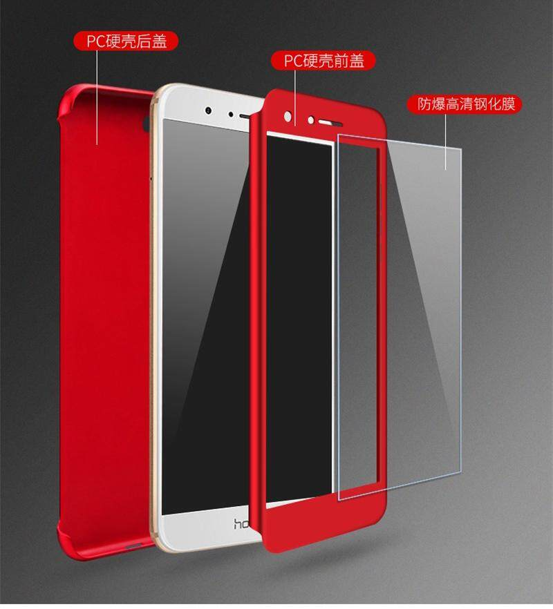 Detail Gambar NUBULA Case For Huawei Honor 9 Lite Case 360 Degree Real Full Body Ultra-thin Hard Slim PC Protective Case Cover With Tempered Glass - intl ...