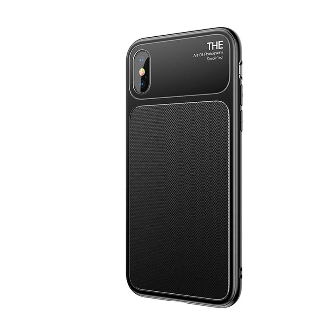 BASEUS untuk iPhone X TPU Hombic Tekstur Pelindung Penutup Belakang Case ( Hitam)-Intl