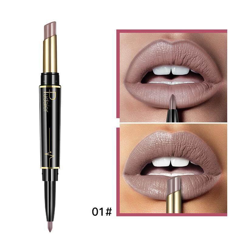 Fuan 2 In 1 Double Kepala Lipstik Pensil Penggaris Bibir Tahan Air Kelembapan Tahan Lama Pigmen