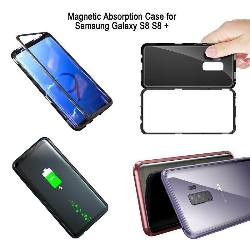 Fitur Magnetic Absorption Tempered Glass Metal Bumper Case For