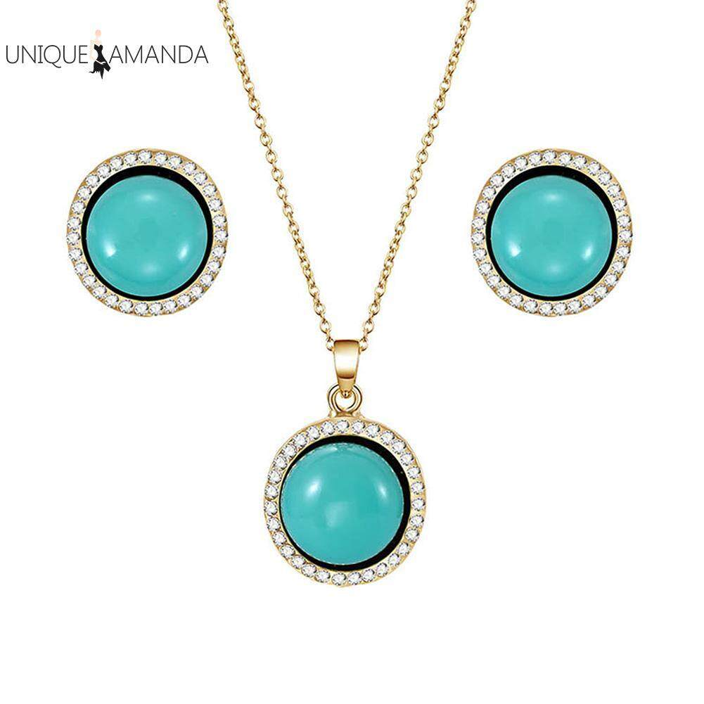 Retro Women Elegant Rhinestone Turquoise Stud Earrings Pendant Necklace Jewelry Set By Unique Amanda.