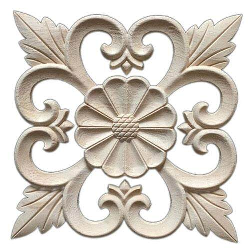 1X Rubber Wood Carved Floral Decal Craft Onlay Applique Furniture DIY Decor #E:20*20cm - intl