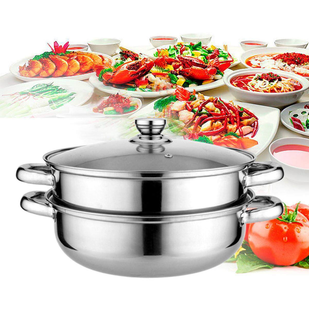 ... Stainless Steel 2 Tier 28cm Steamer Induction Steam Steaming Pot Cookware Set - 4 ...