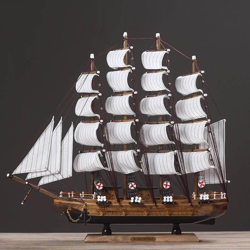 Pudding store Wooden Big Sailboat Decoration Originality Home Furnishing Mediterranean Sailing Ship Ornament