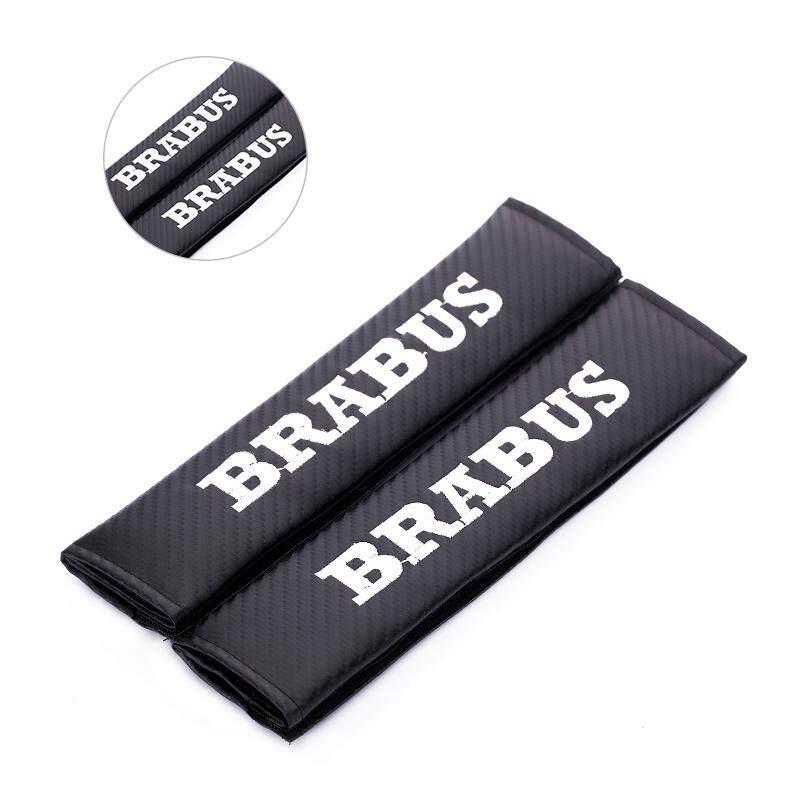 1 Pair Sabuk Pengaman Mobil Padding Pelindung Bahu Penutup dengan BRABUS Logo Interior Mobil Otomatis Aksesoris
