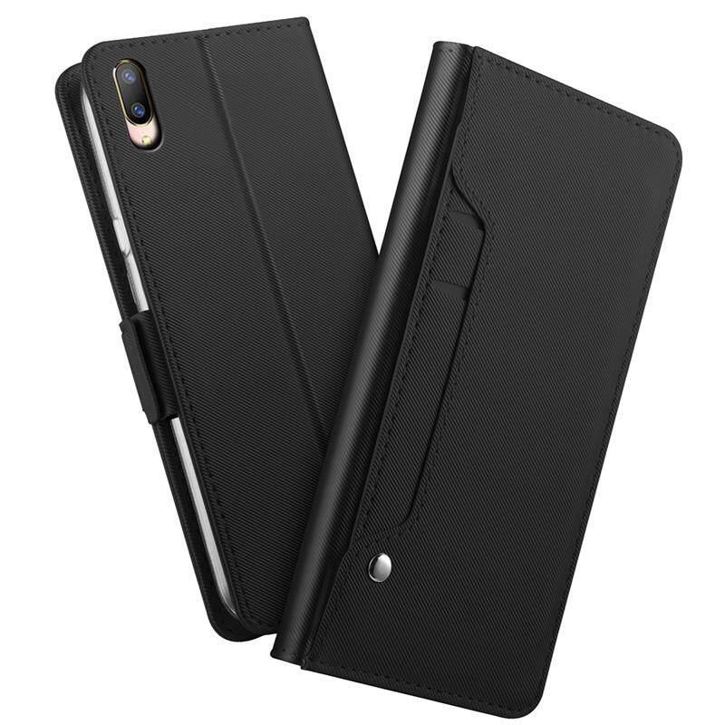 Casing Ponsel untuk Vivo V11 Pro Case PU Dompet Kulit Flip Case Berdiri Cover dengan Cermin dan Slot Kartu Hitam