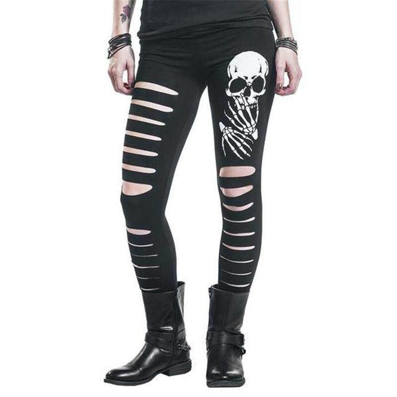 9414558974f477 Women Sexy Skull Heads Printed Leggings High Elastic Stretchy Tight Cutting  Holes Skinny Pants