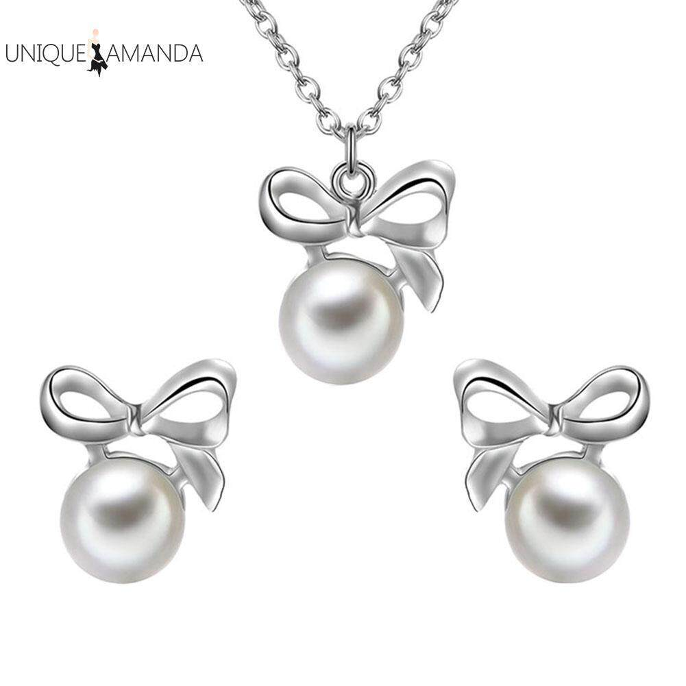 Casual Women Bowknot Pearl Stud Earrings Chain Necklace Jewelry Set By Unique Amanda.