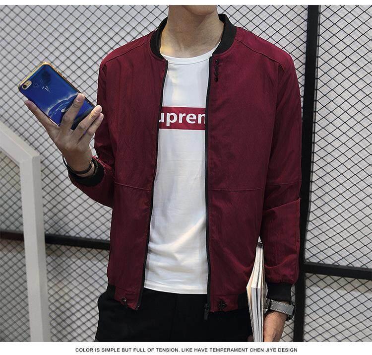 2018 Pria Jaket Bomber Tipis Jaket Baseball Pria Warna Solid Korea Gaya Mode Jaket Kasual Mantel