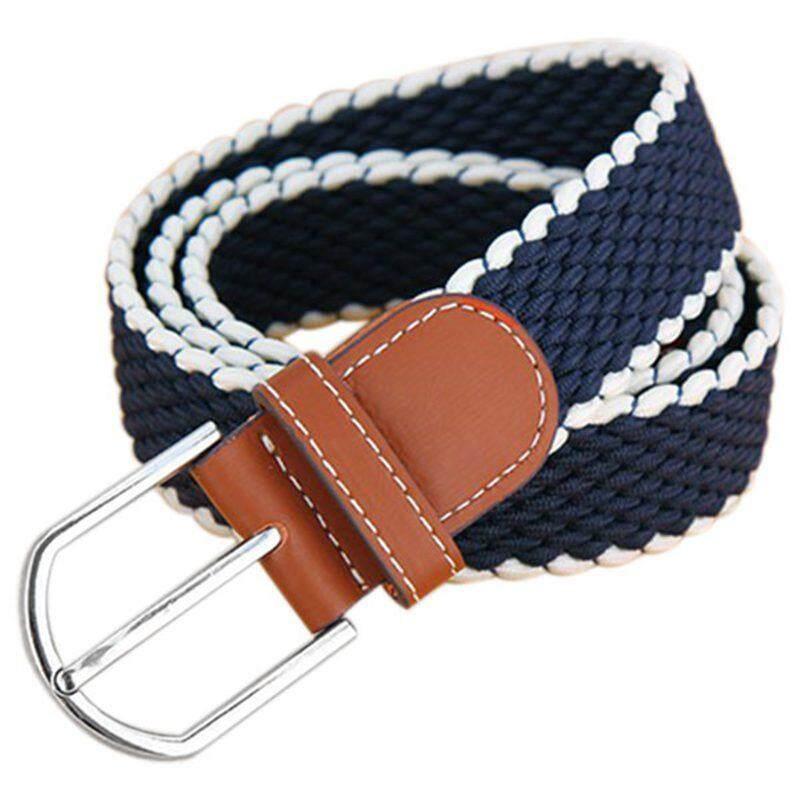 Mens Womens Elasticated Fabric Woven Braided Stretch Belt Blue - intl