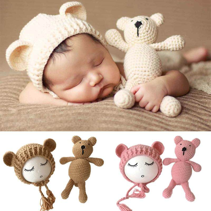 Newborn Photography Props Accessories Bear Hat Cap + Doll Sets Infant Bebe Soft Bonnet Handmade Knitted Beanie Bear Toy - Intl By Kingox Store.