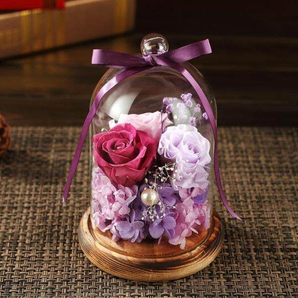 Eternal Flower Fresh Preserved Rose with Glass Bottle Cover Wedding Home Birthday Party Car Decoration
