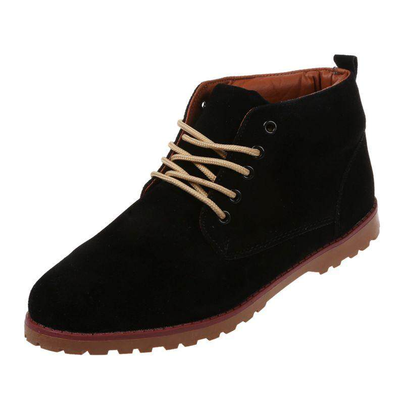 a5b6956fac7 New fashion British Mens Casual Lace Suede Ankle Boots Loafers Shoes  Sneakers-black 39