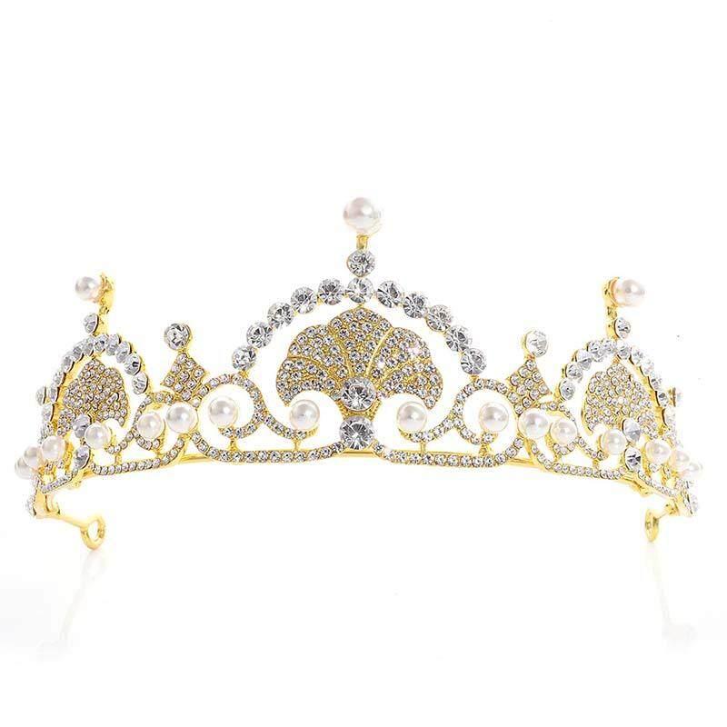 Shell Yang Indah Desain Tiara Pengantin Bando Mahkota Pengantin Wanita Prom Kepala Perhiasan Dekorasi-Intl