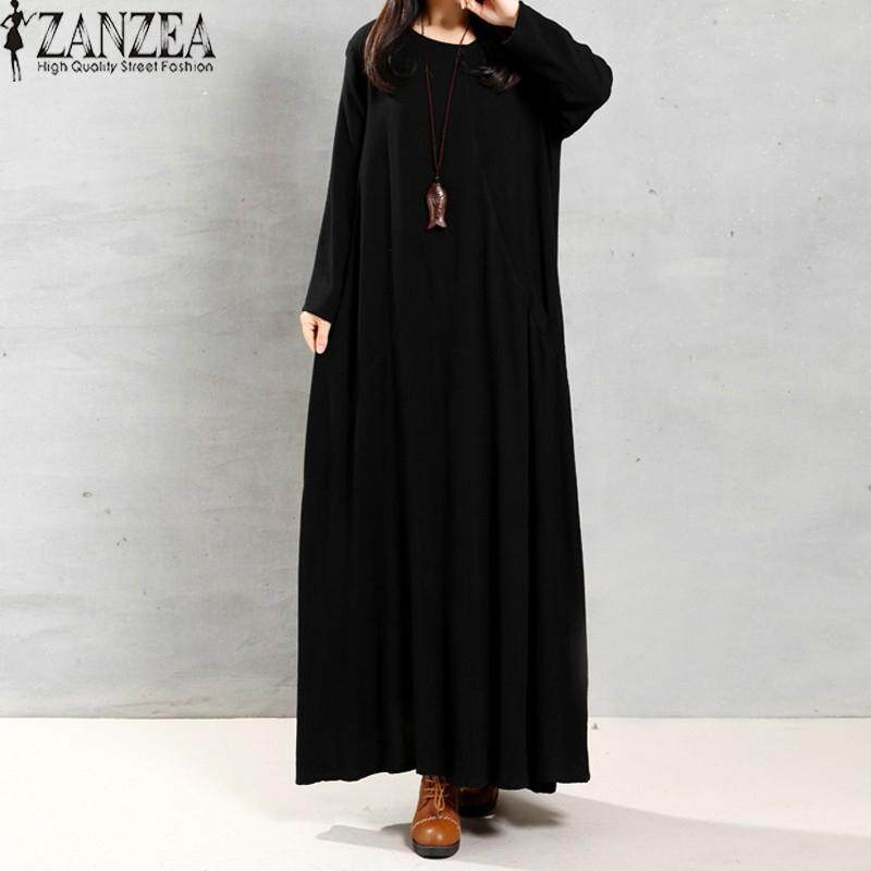 ZANZEA Women Autumn Retro Dress Lady O Neck Long Sleeve Pockets Buttons Decoration Solid Cotton Maxi