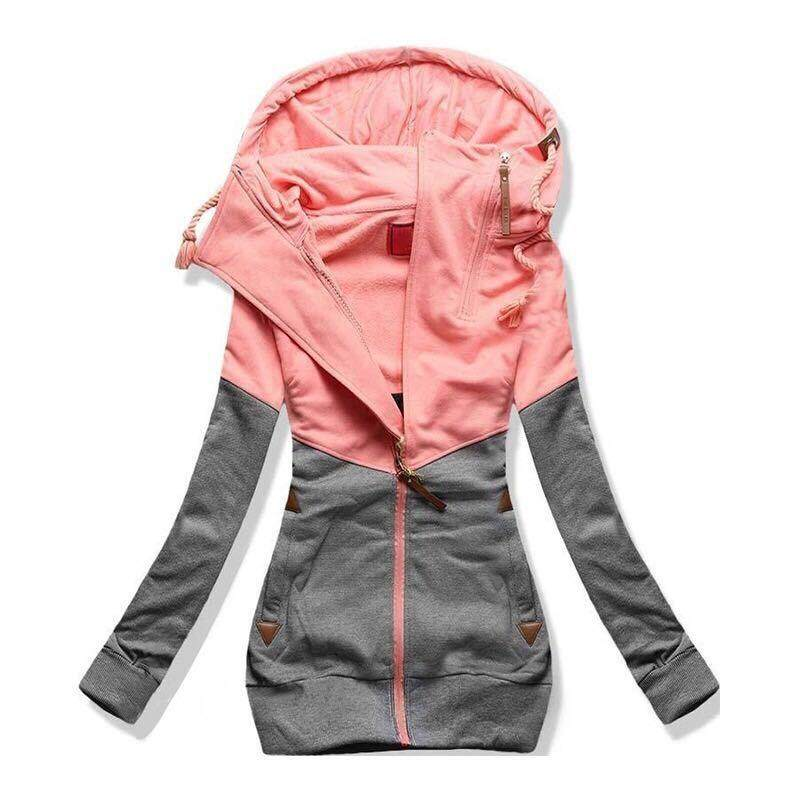 75c5aa521 Big Sale Women Hooded Jacket Long Sleeve Matching Color Zipper Casual  Thicken Outerwear Coats