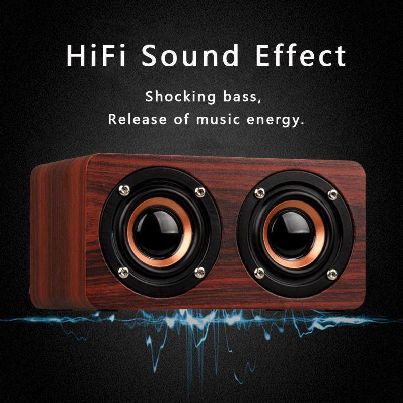 niceEshop Retro Bluetooth Speaker Wooden HiFi Wireless Bluetooth Speaker Touch Desktop Speaker Support TF Card AUX Handsfree For IOS And Android Smartphones Singapore