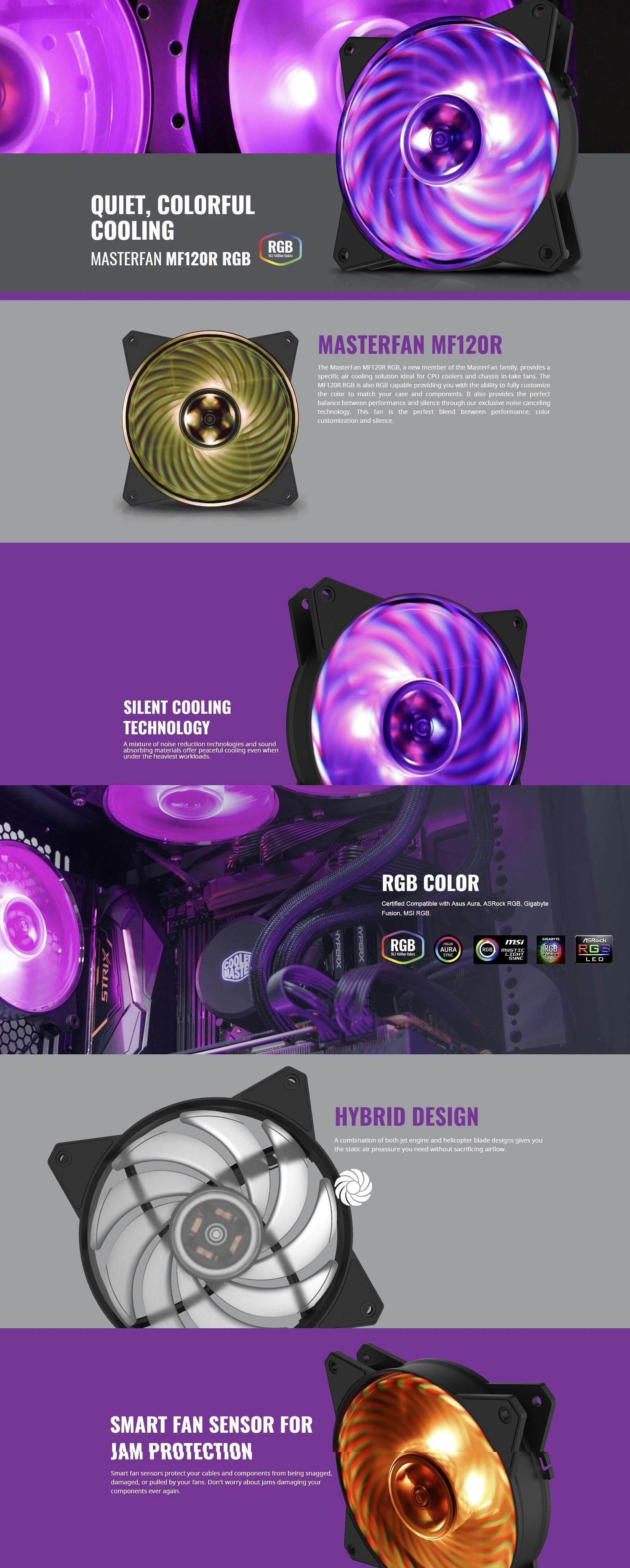 Cooler Master MasterFan MF120R RGB LED 12cm Chassis Fan / 120mm Casing Fan  / Case Fan