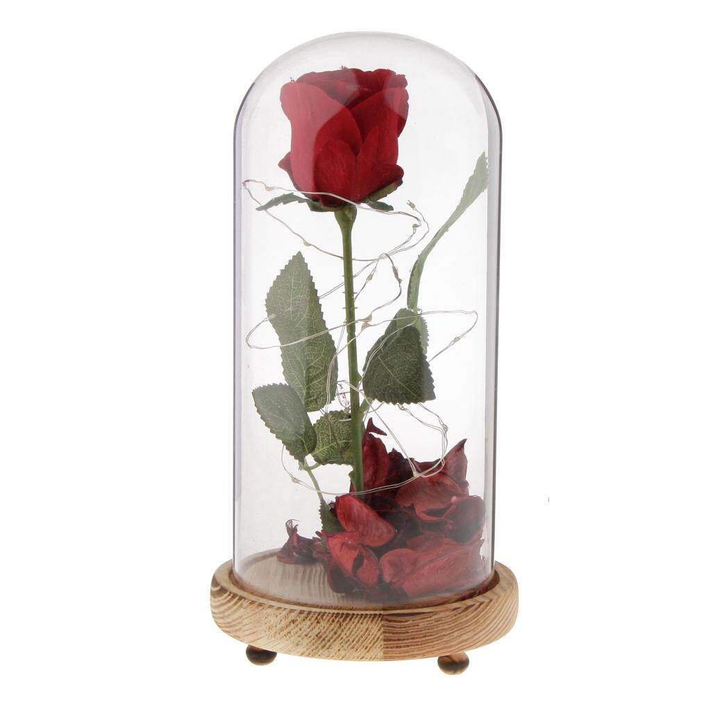 GuangquanStrade LED Rose Flower Preserved Immortal Rose Flower in Glass Table Decor