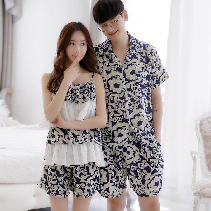 New Summer Couple Pajamas, Simple Men's Short-sleeved Sweet Ladies Thin Paragraph Home Service Suit - (female Models) - intl
