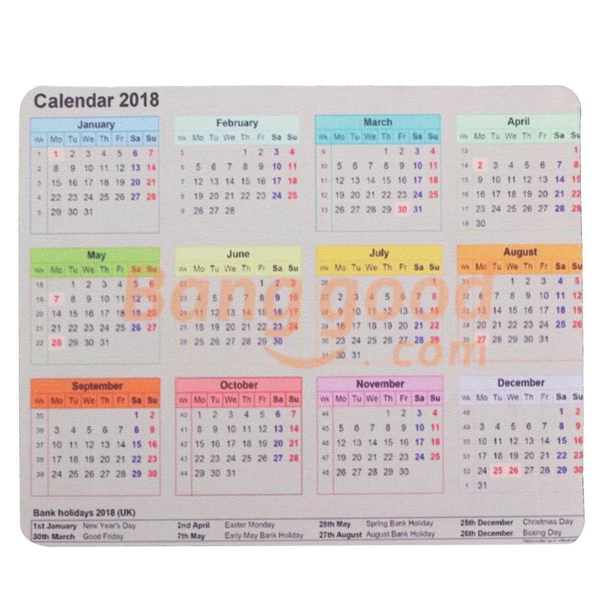 2018 Kalender Mouse Pad Abu-abu Hitam Anti-Slip Alas Mouse Desktop Gaming Hadiah-Intl