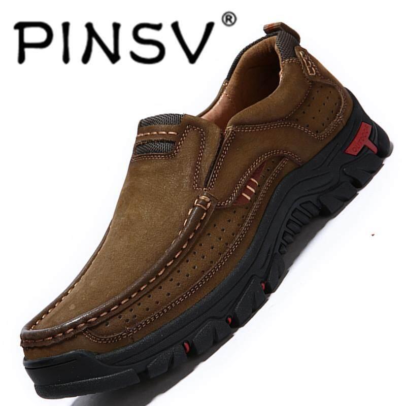 Pinsv รองเท้ากลางแจ้งยืดหยุ่นและ Cowhide ประณีตรองเท้าเดินป่าระบายอากาศและสะดวกสบายๆรองเท้ากีฬาลื่น Lightsome พื้นรองเท้ายาง By Pinsv.