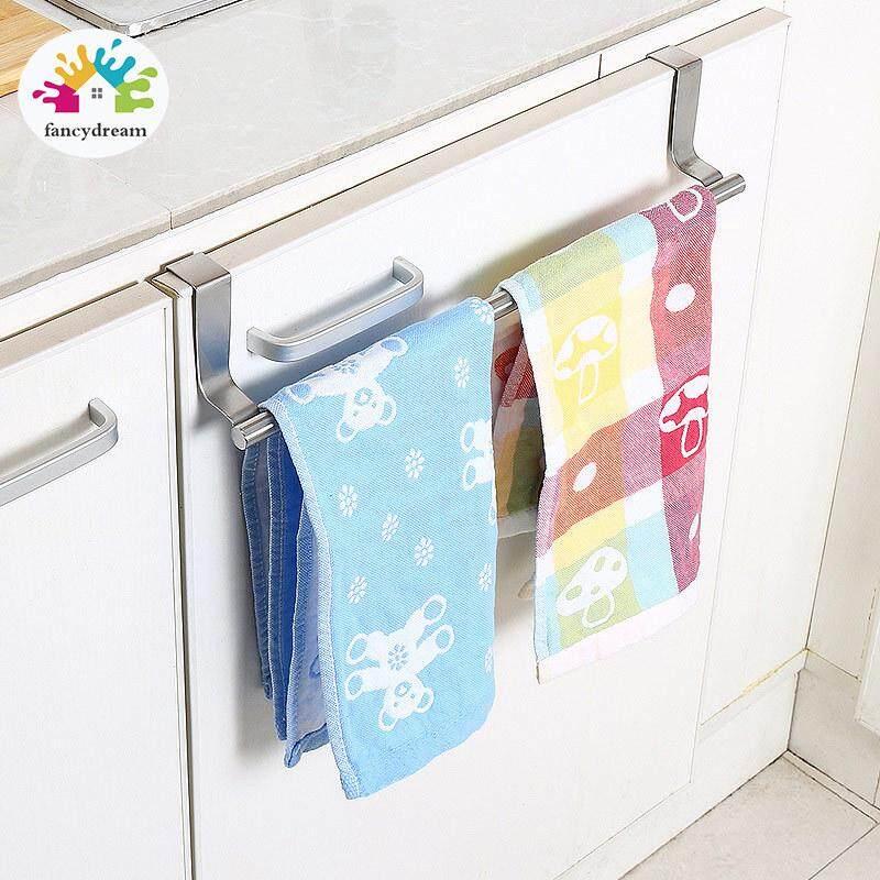 Fancydream Stainless Steel Towel Bar Holder Kitchen Cabinet Cupboard Door Hanging Rack Storage Hook Accessories