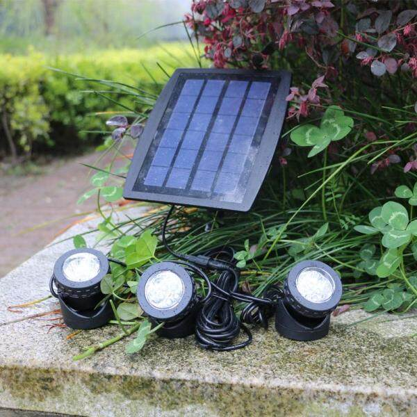Outdoor LED solar floodlight 3 heads solar energy underwater projection lamp split type indoor lighting lamp garden lamp